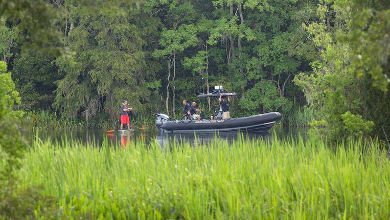 De zoektocht naar brokstukke van de Cessna in in South Carolina. Beeld epa
