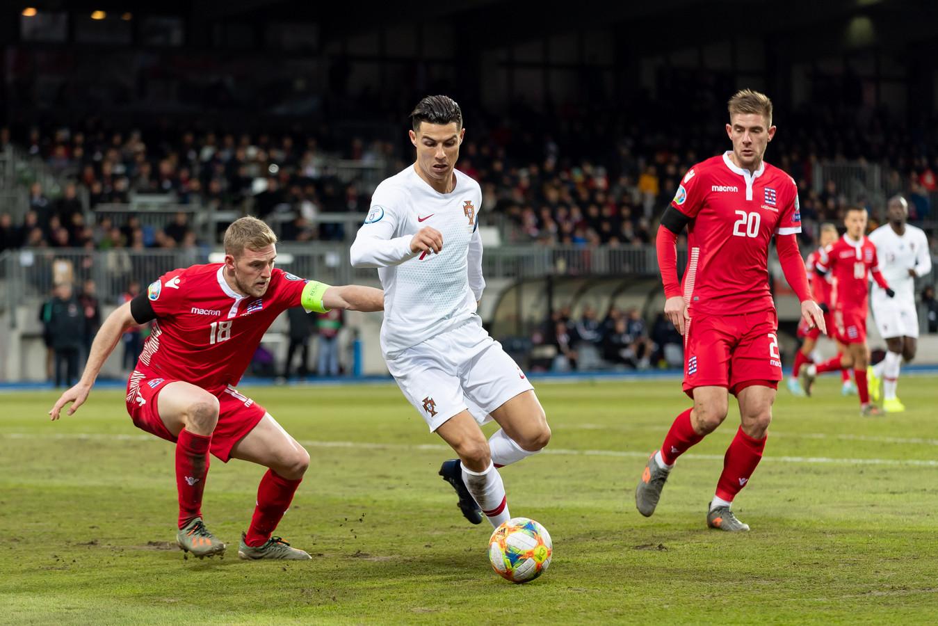 Cristiano Ronaldo maakte tegen Luxemburg zijn 99ste goal voor Portugal.
