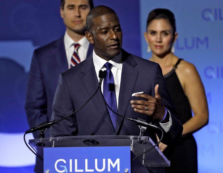 De Democraat Andrew Gillum erkent zijn nederlaag in de gouverneursrace in Florida.  Beeld AP