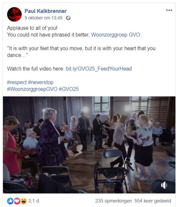 Paul Kalkbrenner deelde het filmpje van woonzorggroep GVO op zijn facebookpagina