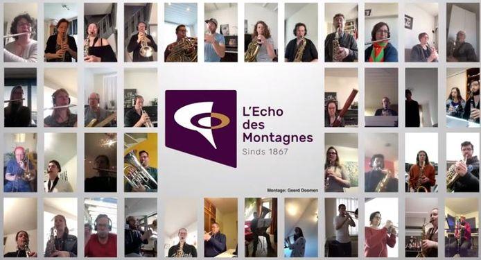 L'Echo des Montagnes uit Tilburg maakte een video waarbij alle muzikanten thuis hun partij speelden.