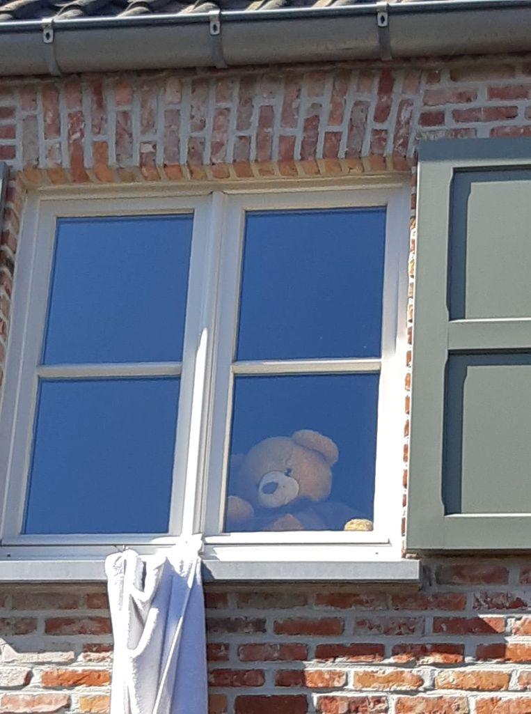 Een teddybeer voor het raam in Oelegem.