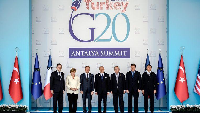 Wereldleiders op de foto bij de G20 in Antalya. Beeld afp