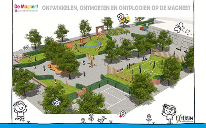 De plannen voor de herinrichting van het plein.