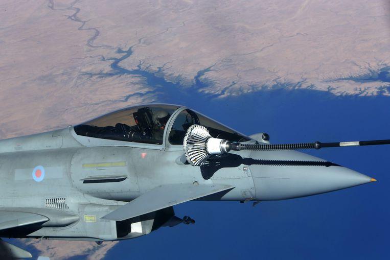 Londen sloot in maart een miljardencontract met Saoedi-Arabië voor de levering van 48 Eurofighter Typhoon-gevechtsvliegtuigen. In Europa zijn de Britten en de Fransen de grootste wapenleveranciers van de Saoediërs. Beeld AFP