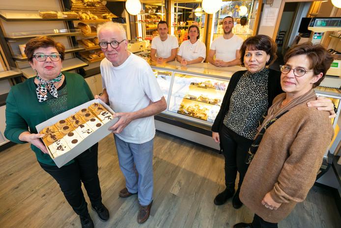Het team van Bakkerij Kosters in Kaatsheuvel met v.l.n.r. Marlies en Laurens Lejeune-Kosters, Martin, Carool, Francois, Margriet en Fransien.