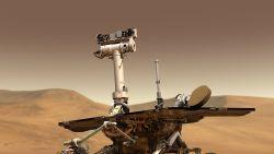 Mars-rover Opportunity geparkeerd door hevige storm