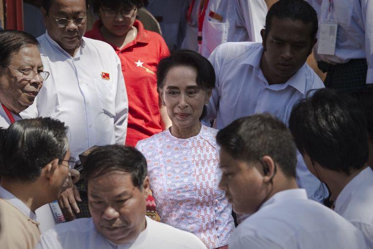 Aung San Suu Kyi na haar verkiezingsoverwinning Beeld AP