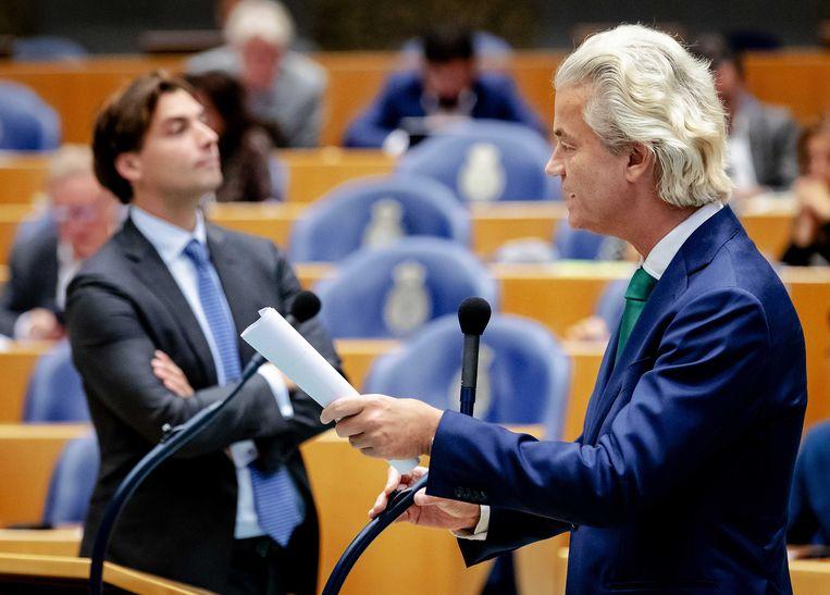 Thierry Baudet (FvD) en Geert Wilders (PVV) in de Tweede Kamer.  Beeld ANP - Robin van Lonkhuijsen