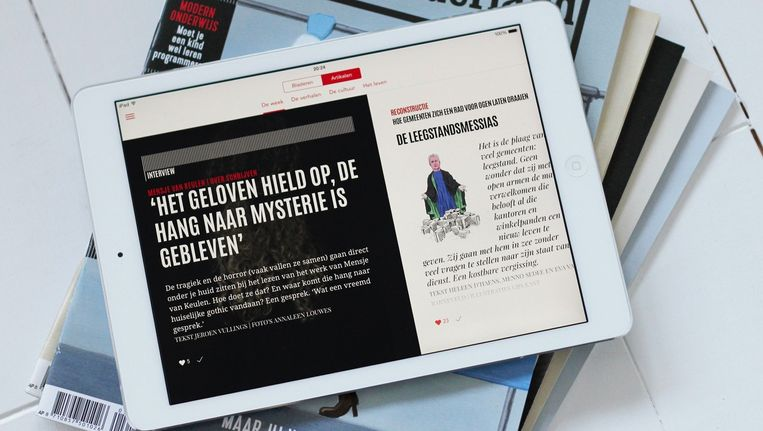De eerste versie van de door Blendle ontwikkelde Vrij Nederland-app is sinds maandag beschikbaar. Beeld Blendle