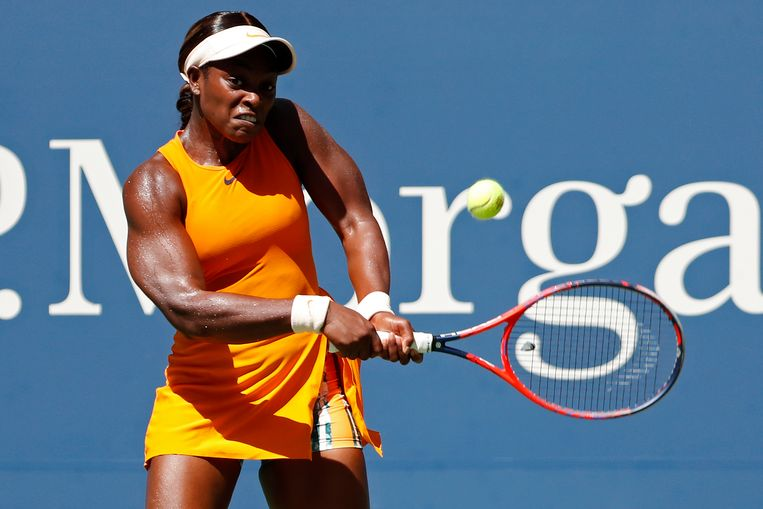 Sep 4, 2018; New York, NY, USA; Sloane Stephens of the United States hits a backhand against Anastasija Sevastova of Latvia (not pictured) in a quarter-final match on day nine of the 2018 U.S. Open tennis tournament at USTA Billie Jean King National Tennis Center. Mandatory Credit: Geoff Burke-USA TODAY Sports