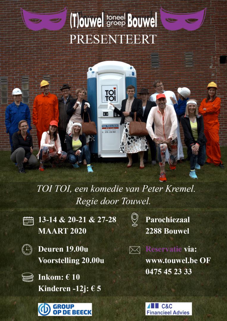 De affiche van het toneelstuk 'Toi Toi', gepresenteerd door toneelgroep Touwel