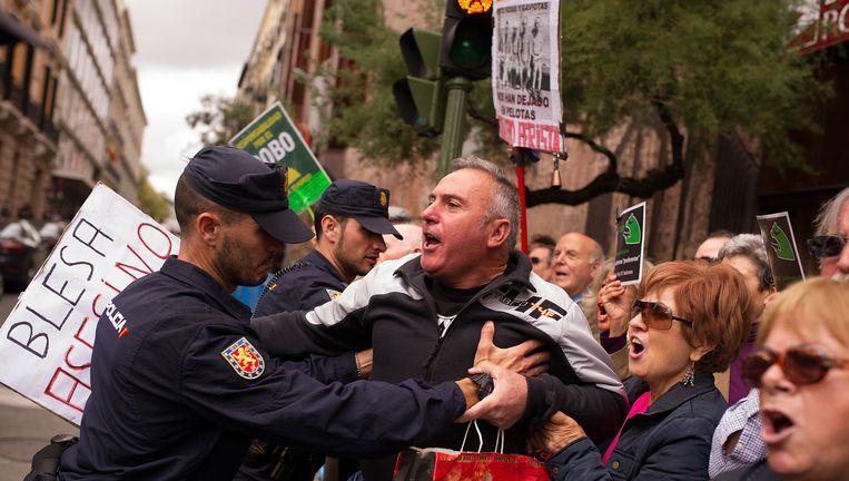 Protesten tijdens het proces tegen Bankia, afgelopen oktober bij het hooggerechtshof. Beeld null