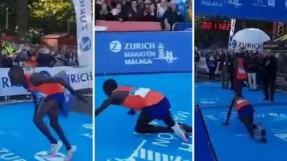 Loper heeft na 42 kilometer afzien zilveren medaille in het vizier, tot laatste meters hem ongenadig hard in de luren leggen