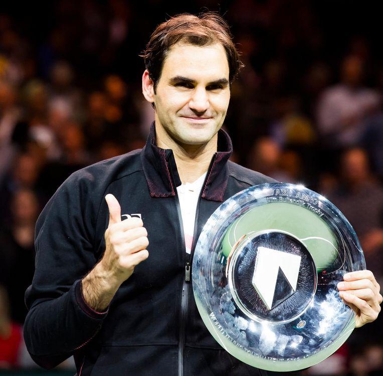 De Zwitser Roger Federer wint zijn partij van de Bulgaar Grigor Dimitrov, in de finale van het ABN AMRO World Tennis Tournament. Beeld null