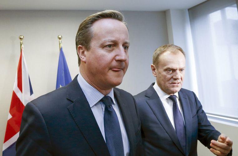 Voorzitter van de Europese raad Donald Tusk (r) en de Britse premier David Cameron (l). Beeld epa