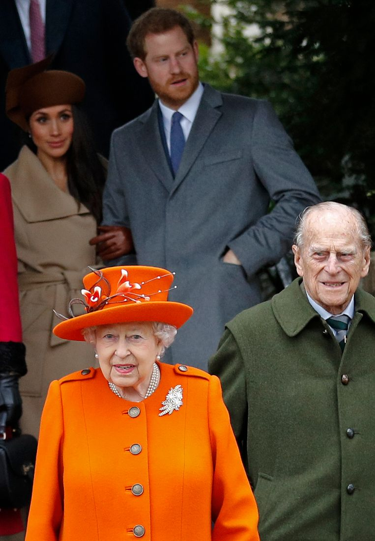 Prins Harry en zijn vrouw Meghan vertelden vorige week hun rol als 'senior royals' niet meer te zien zitten.   Beeld AFP