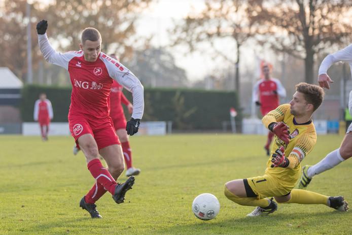 Erwin Franse, hier trefzeker tegen TEC, heeft al negen goals achter zijn naam staan. De aanvaller staat in de belangstelling van meerdere clubs.