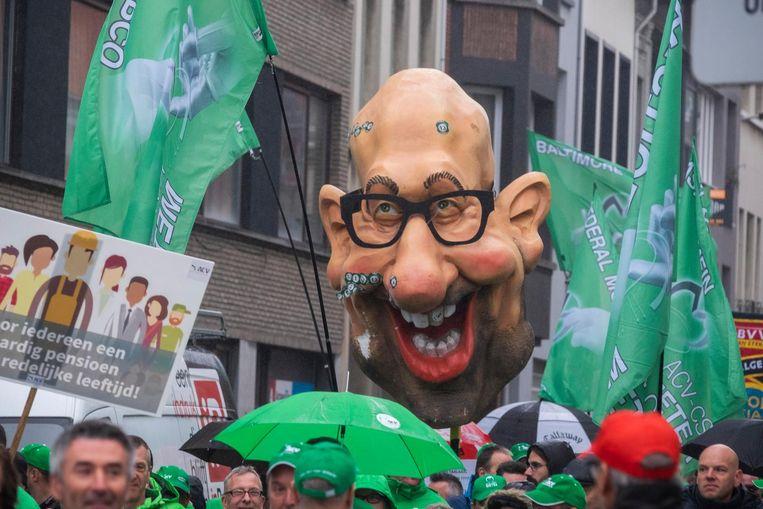 Ook premier Michel was kop van jut tijdens de betoging.
