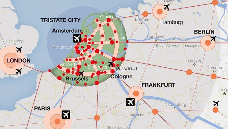Nederland als netwerkstad. Beeld Tristate Network