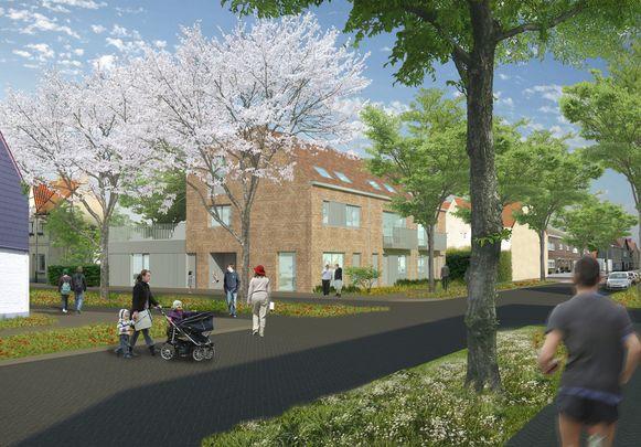 Een toekomstbeeld van het vervangingsbouwproject van shm Ninove-Welzijn in Pollarewijk.