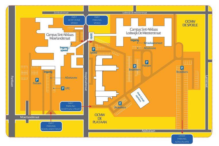 Het circulatieplan op de parkings van AZ Nikolaas in Sint-Niklaas, met centraal de Hospitaalstraat.