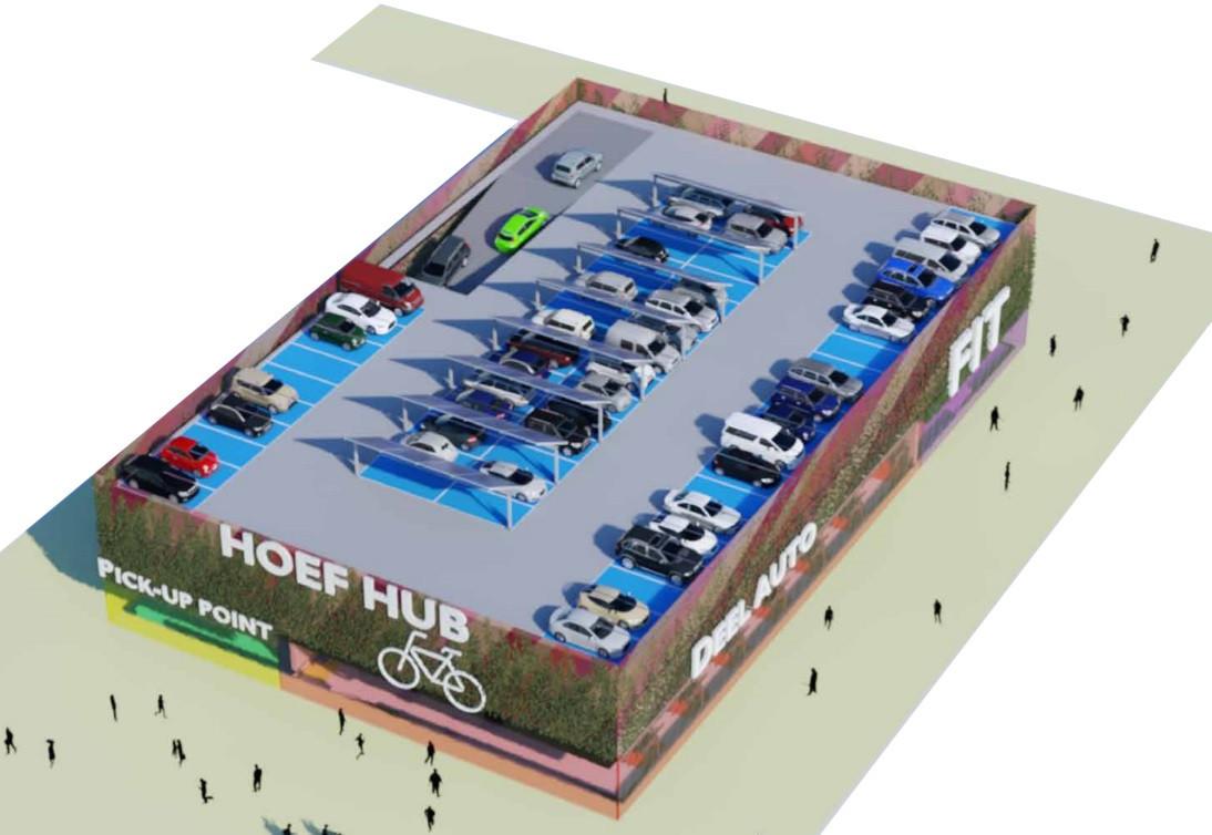 Een artist's impression van hoe de verkeershub op De Hoef er volgens de rapportmakers uit zou kunnen zien.