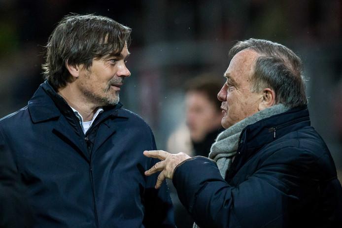 Phillip Cocu en Dick Advocaat voor aanvang van Sparta-PSV.