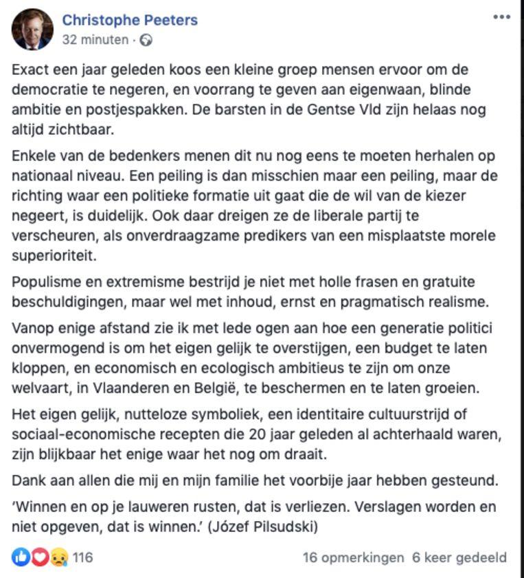 Het volledige bericht van Christophe Peeters.