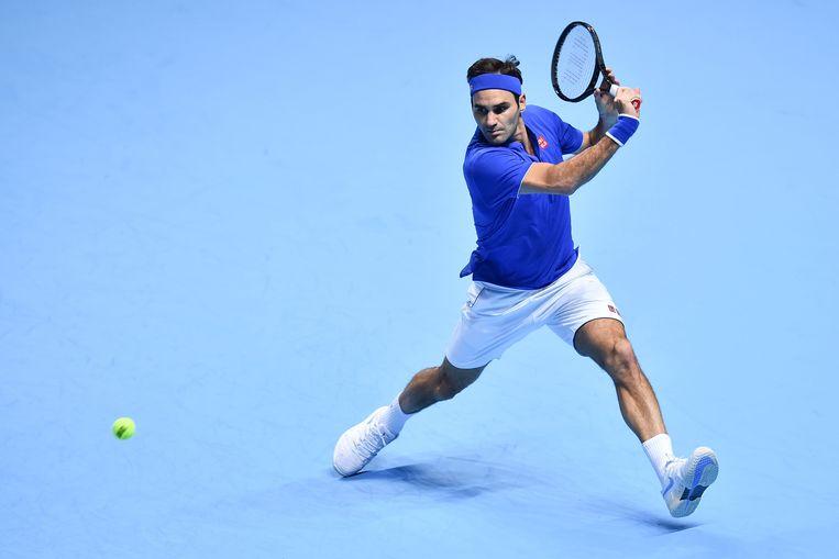 Roger Federer tijdens ATP World Tour Finals in de O2 Arena in Londen op 13 november. Beeld AFP
