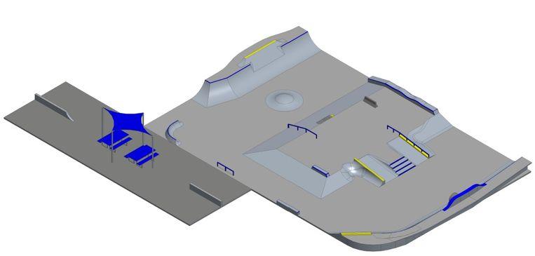 De Spaanse ontwerper Luka Melloni, zelf kampioen skaten, finaliseerde het ontwerp voor het nieuwe skatepark.