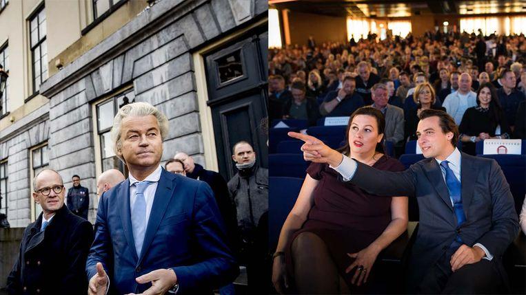Geert Wilders met Henk van Deun van de Utrechtse PVV en Thierry Baudet met Annabel Nanninga, lijsttrekker van het Forum voor Democratie in Amsterdam Beeld ANP/Trouw