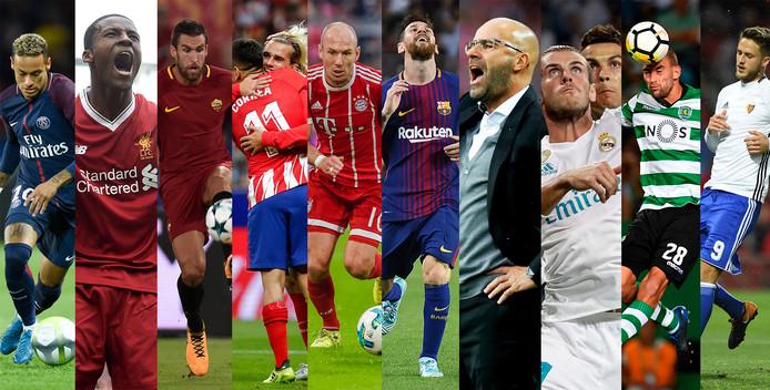 Vlnr: Neymar, Georginio Wijnaldum, Kevin Strootman, Ángel Correa, Antoine Griezmann, Arjen Robben, Lionel Messi, Peter Bosz, Gareth Bale, Cristiano Ronaldo, Bas Dost en Ricky van Wolfswinkel.