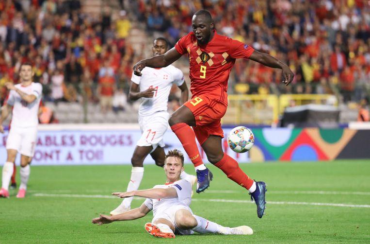 Lukaku tegen Zwitserland in de vorige editie van de Nations League.