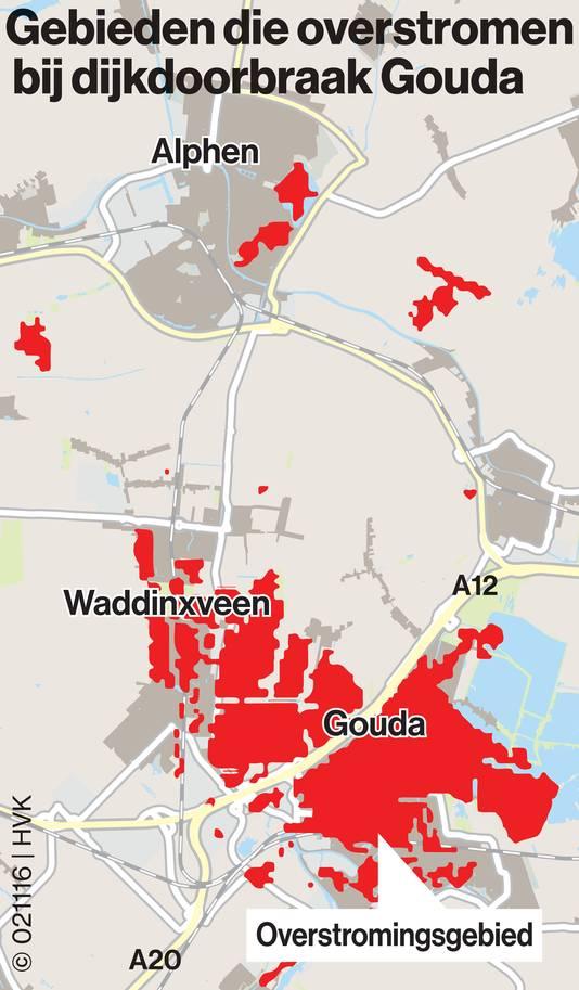 Gebieden die overstromen na dijkdoorbraak Gouda.