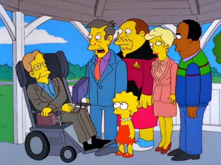 Karikatuur van Hawking in televisieserie The Simpsons. Beeld Gabriel Eisenmeier