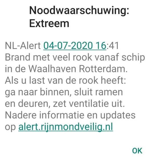 Het NL-Alert waarschuwde voor veel rook.