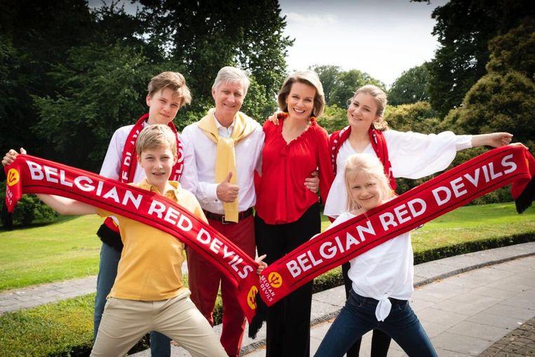Voorafgaand aan België-Brazilië plaatste de koninklijke familie deze foto op de sociale media.
