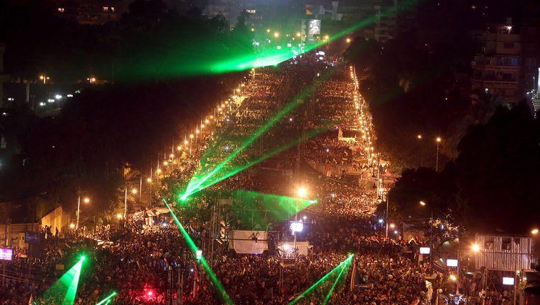Vannacht op het Tahrirplein, waar miljoenen betogers zich verzamelden om tegen het bewind van Morsi te protesteren. Beeld null