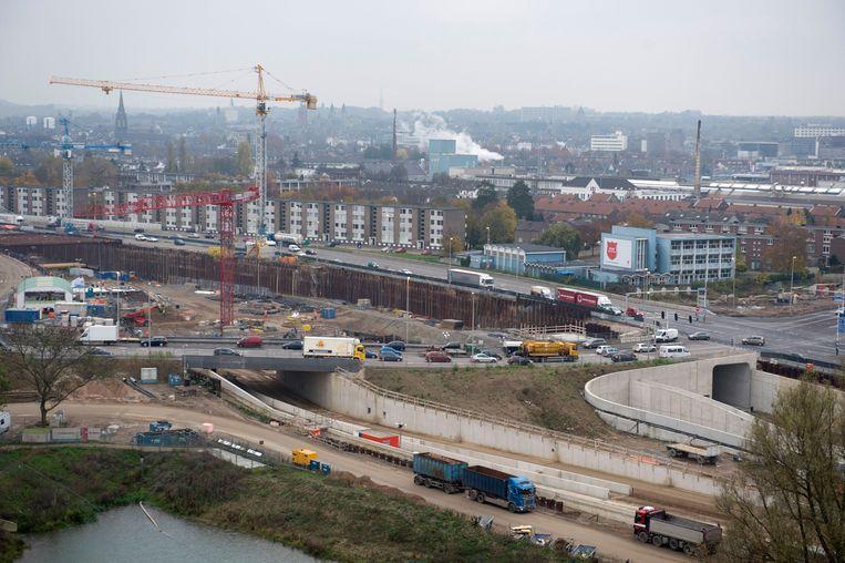 November 2013, bouwwerkzaamheden aan de A2-tunnel bij Maastricht. Beeld ANP