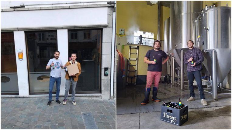 De mannen van Toernee Mondi'alle helpen de cafés en de lokale handelaars zoals Blue Note en Den Herberg door bij hen iets te bestellen.