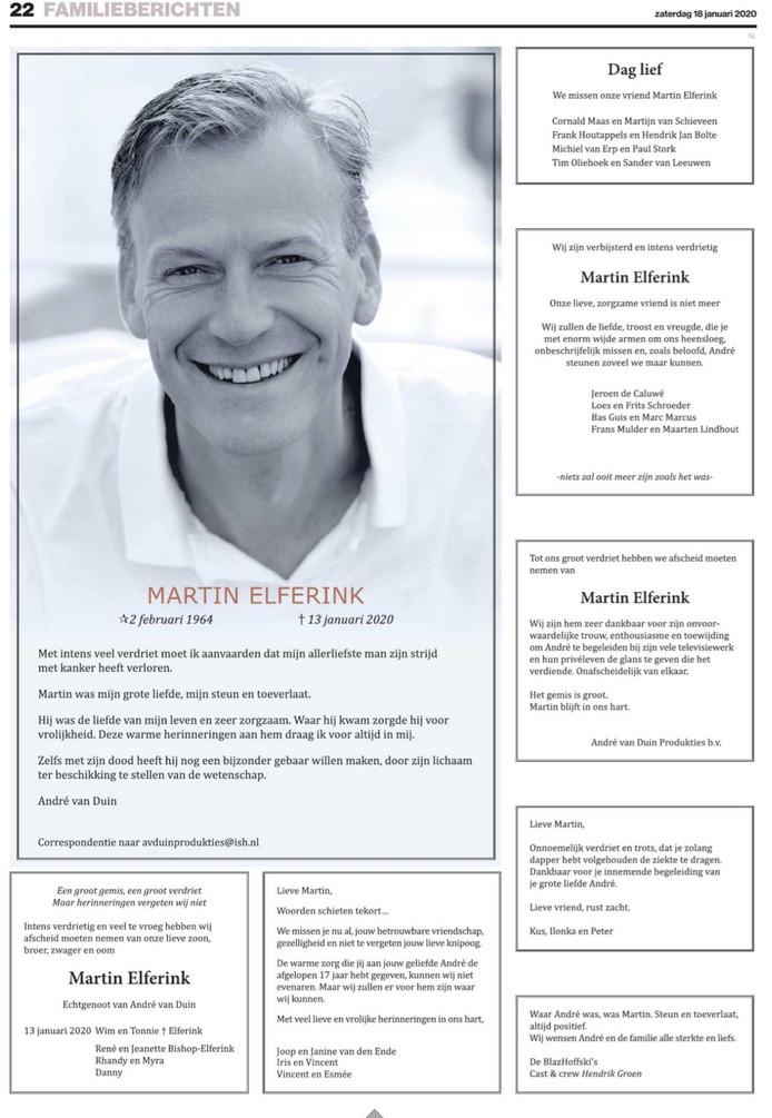 Rouwadvertenties voor Martin Elferink