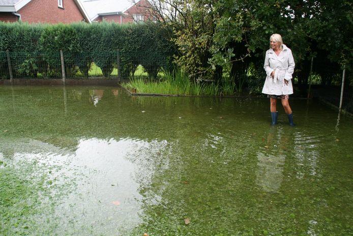 Bewoonster Liliane Quackelbeen van de Waterhoekweg heeft veel water in haar tuin staan.