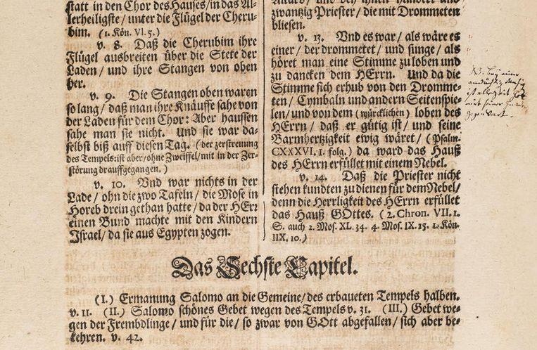 Een pagina uit de facsimile van de Calov-bijbel van Bach. Beeld