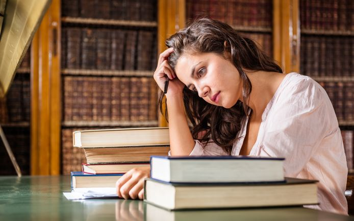 stressed stress student depressie depressief stock