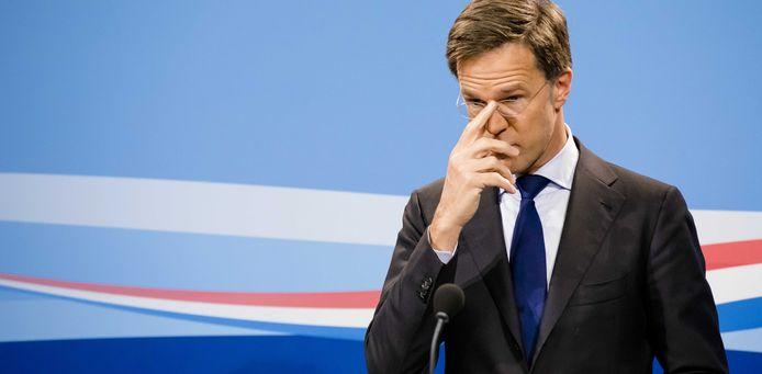 Premier Mark Rutte tijdens de wekelijkse persconferentie van kabinet Rutte III na afloop van de ministerraad.
