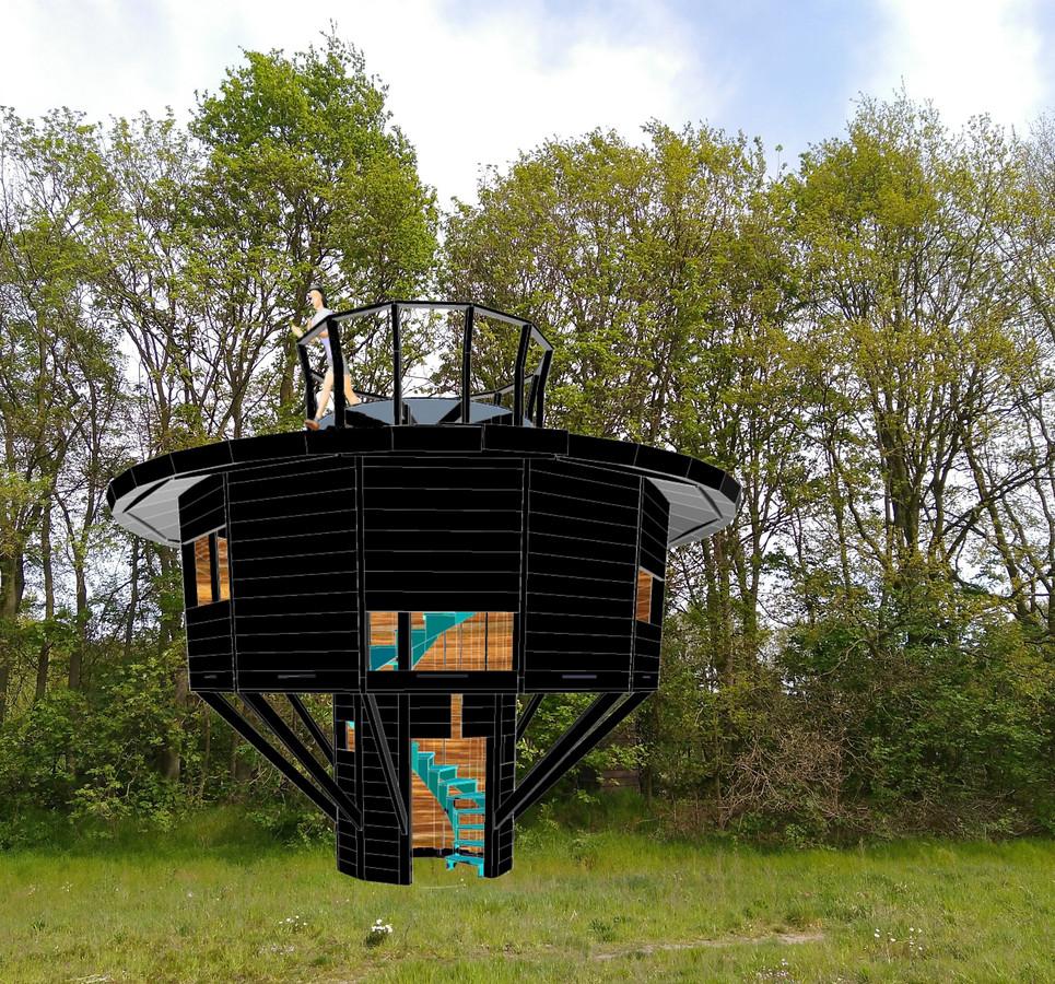 Kunstenaar Ben Raaijman ontwiep een boomhut voor bij het Boekelse Ecodorp