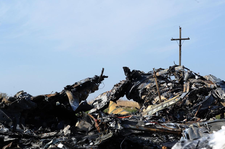 De rampplek met wrakstukken in 2014, in het oosten van Oekraïne.