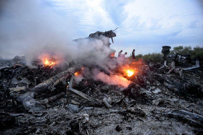 De wrakstukken van MH17 in Oost-Oekraïne.