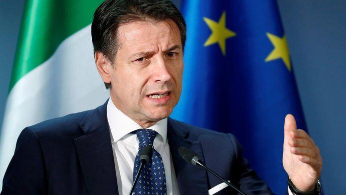 Le président du conseil italien Giuseppe Conte, lors d'une conférence de presse après le sommet européen du 14 décembre
